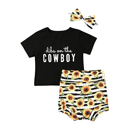 Newborn Baby Girls My First Rodeo Outfits Short Sleeve Letter Printed Romper Tops Denim Shorts Headband Set 0-18M