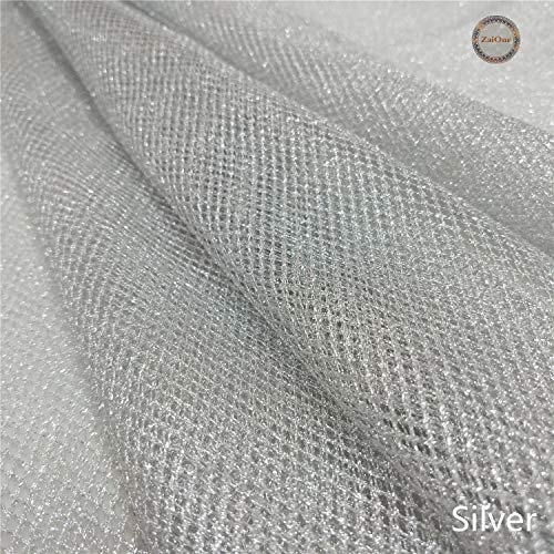 (ZAIONE Metallic Mesh Fabric by The Yards Width 58