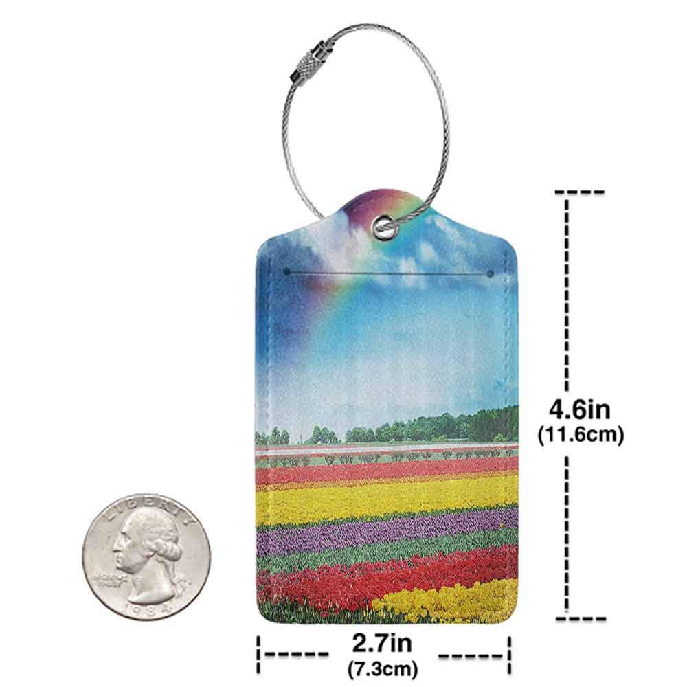 Printed luggage tag Country Home Decor Collection Rainbow over Multicolor Tulip Field Blooms Distant Forest at Spring Time Holland Protect personal privacy Blue Red W2.7 x L4.6