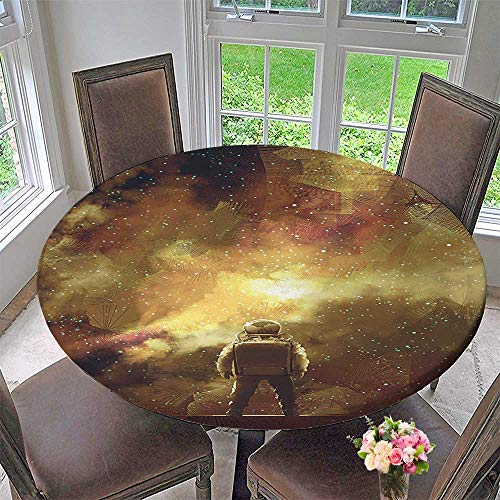 Round Polyester Tablecloth Table Cover Cosmonaut Boy Standing Against Cosmos Nebula Themed Solar Artprint Tan Black for Most Home Decor 55''-59'' Round (Elastic Edge) by Mikihome