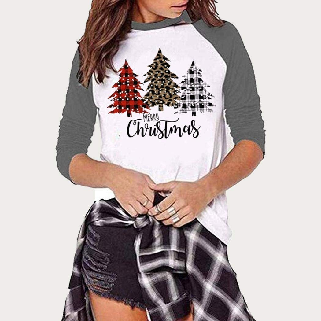 MUDEREK Women Fashion Round Neck Three Quarter Sleeve Christmas Tree T-Shirt Knits /& Tees