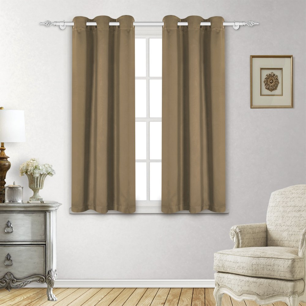 LUXUER Olive Curtain Panels Blackout Thermal Insulated Solid Room Darkening Grommet Drapes Home Decor 2 Panels, 42x84 Inch, Olive Green JOINTLONG