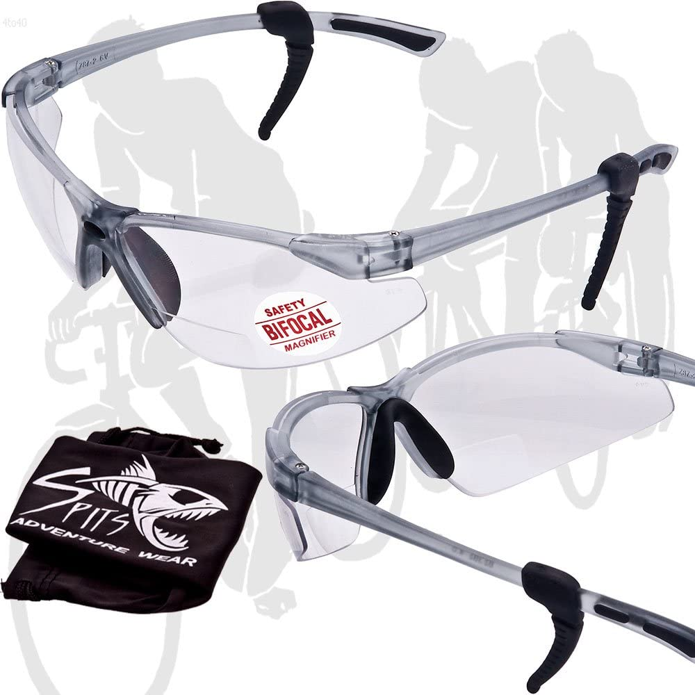 THRESHER Cycling Running Outdoor Bifocal Sunglasses in Clear or Smoke Lenses, with Removable Adjustable Soft Rubber Ear Locks