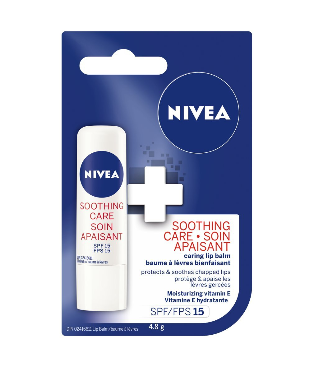 NIVEA Soothing Care Lip Balm Stick with SPF 15, 4.8 g 056594008373