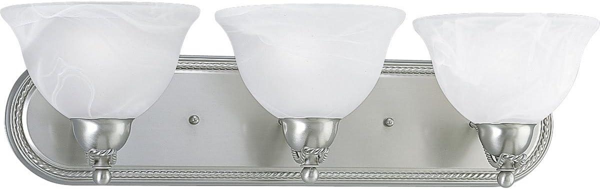 Progress Lighting P3268-09 3-Light Bath Bracket with Swirled Alabaster Glass, Brushed Nickel