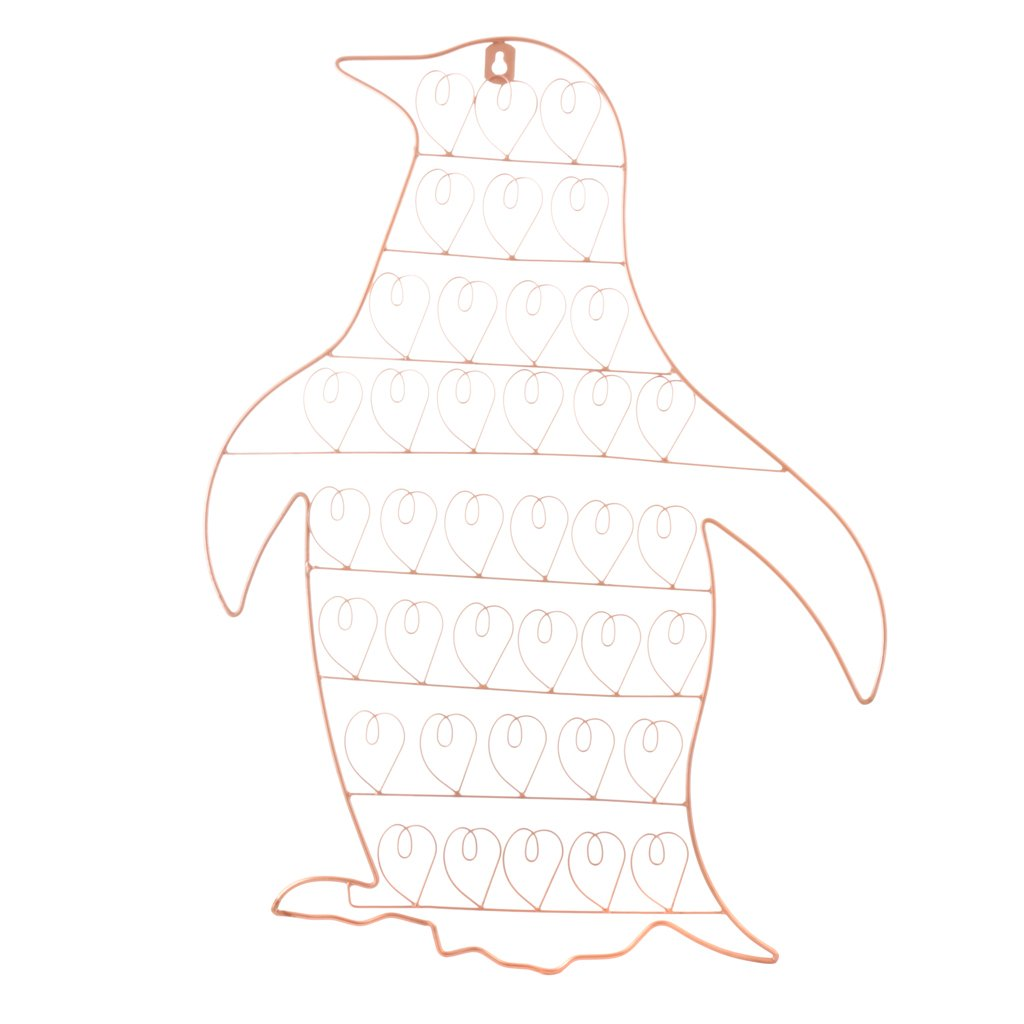 Copper Merry Christmas Wall Mounted Greetings Card Holder, Great for storing a generous amount of Christmas Cards from loved ones! Penguin Shaped Christmas Card Holder, Intricate Wire Details.