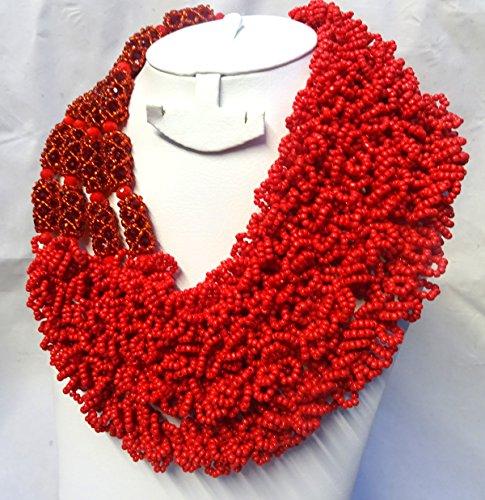Unique Design dernier style africain Rouge Riche du Nigeria perles mariée mariage bijoux Set