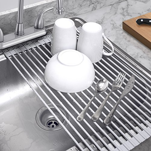 Plate Drainer (Sorbus Roll-Up Dish Drying Rack | Over the Sink Drying Mat,- Multipurpose Dish Drainer - Fruits And Vegtable Rinser - Durable Silicone Covered Stainless Steel Large 20-1/2