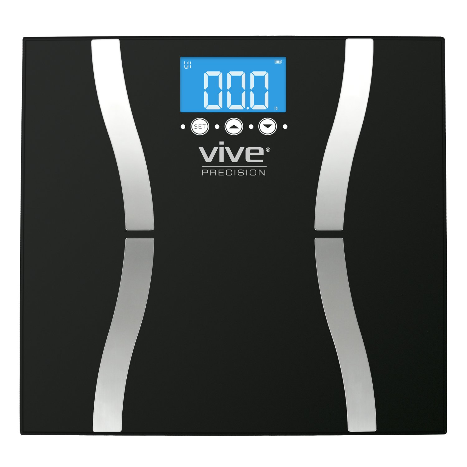 Body Fat Scale by Vive Precision - Digital Bathroom Scale Calculates and Analyzes Weight and Electronic Body Fat Composition Percentage - Accurate Reliable Home Measurement for Men and Women (Black)