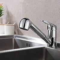 Auralum Einhebel Küchenarmatur mit 2 Strahlarten Geschirrbrause| Wasserhahn Küche ausziehbar| Spültischarmatur Armatur mit 360° schwenkbar| Chrom Einhandmischer Mischbatterie für Küche