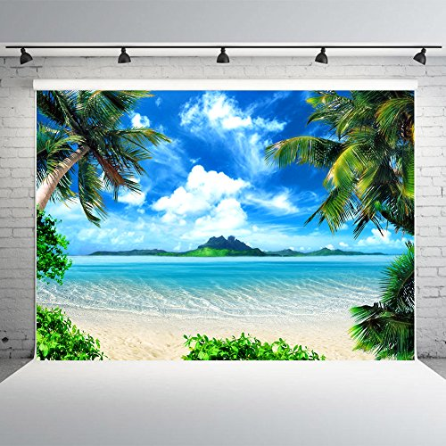 7x5ft Tropical Beach Backdrop Vinyl Palm Trees Blue Sky Background for Photography, Wedding Decoration, Party Banner -