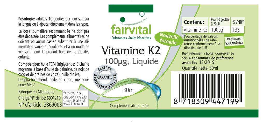 Vitamina K2 líquido 100µg par 10 gotas, 30 ml, sustancia pura: Amazon.es: Salud y cuidado personal