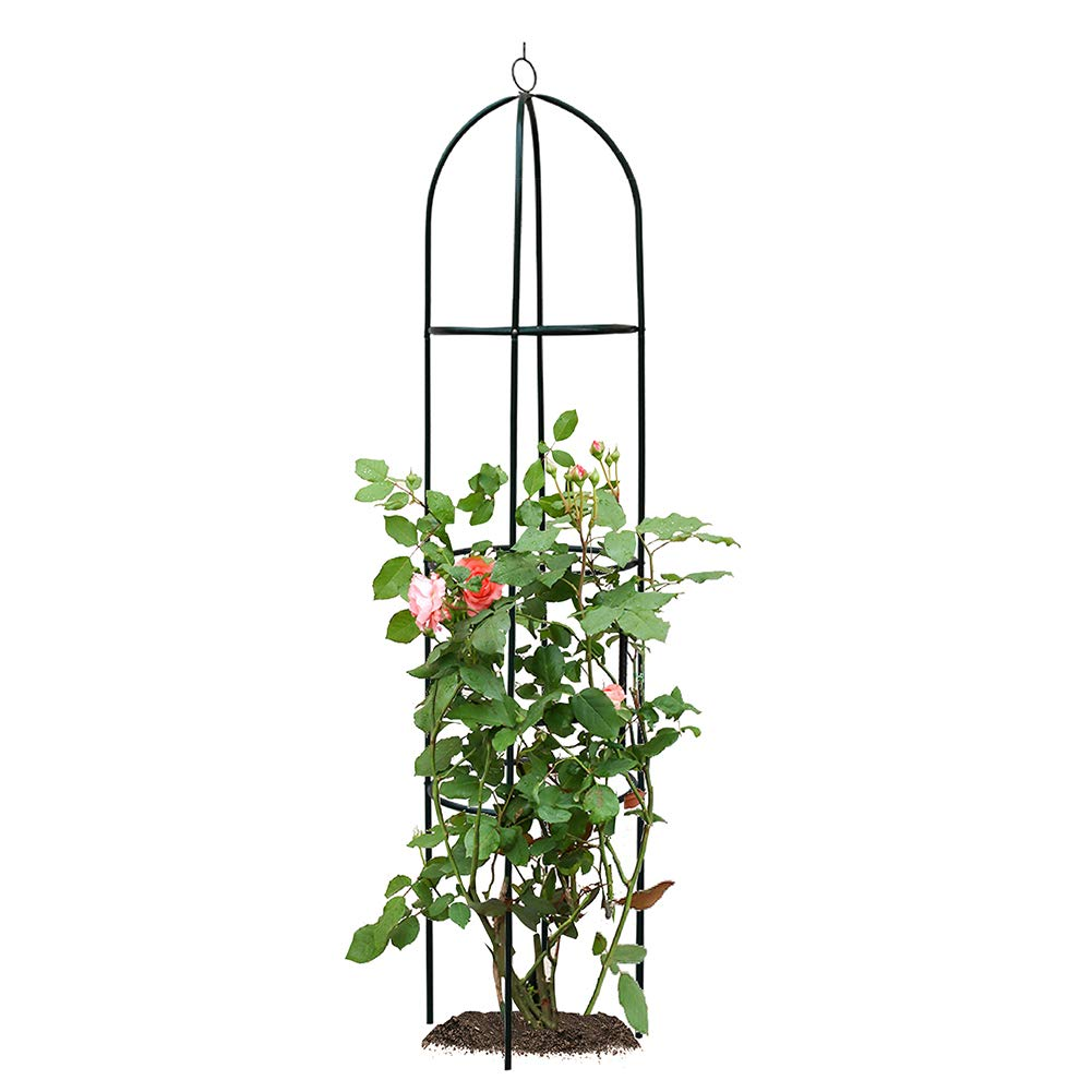 ART TO REAL Garden Obelisk Trellis for Climbing Plants, Wrought Iron Metal Trellis Flower Support for Climbing Vines, Rose and Plants, Outdoor Green Steel Tall Tower w/ 6.2ft Height