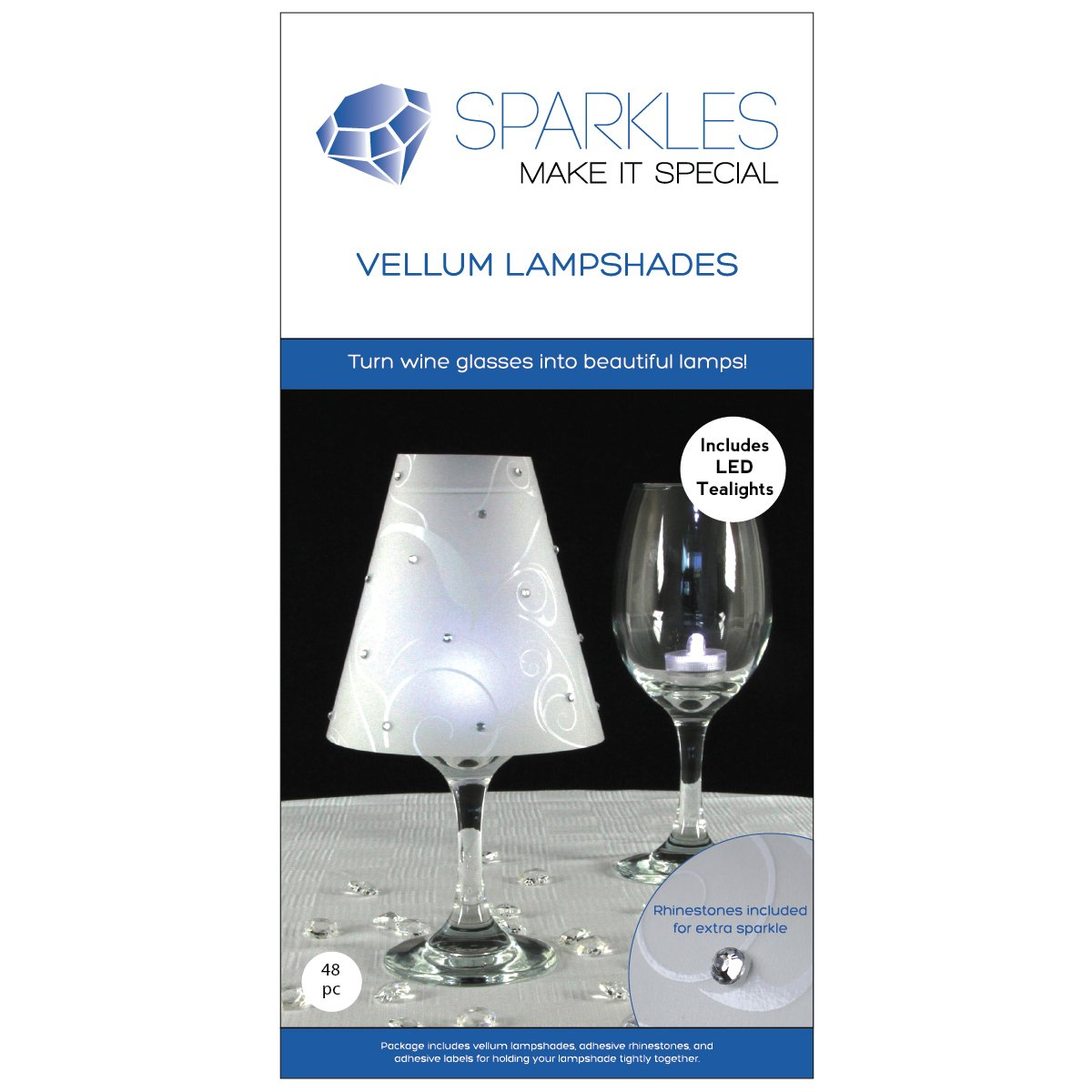 Sparkles Make It Special 48 pc Wine Glass Lamp Shades with Rhinestones and LED Tea Lights - Wedding Table Decoration - White Vellum Swirl Print