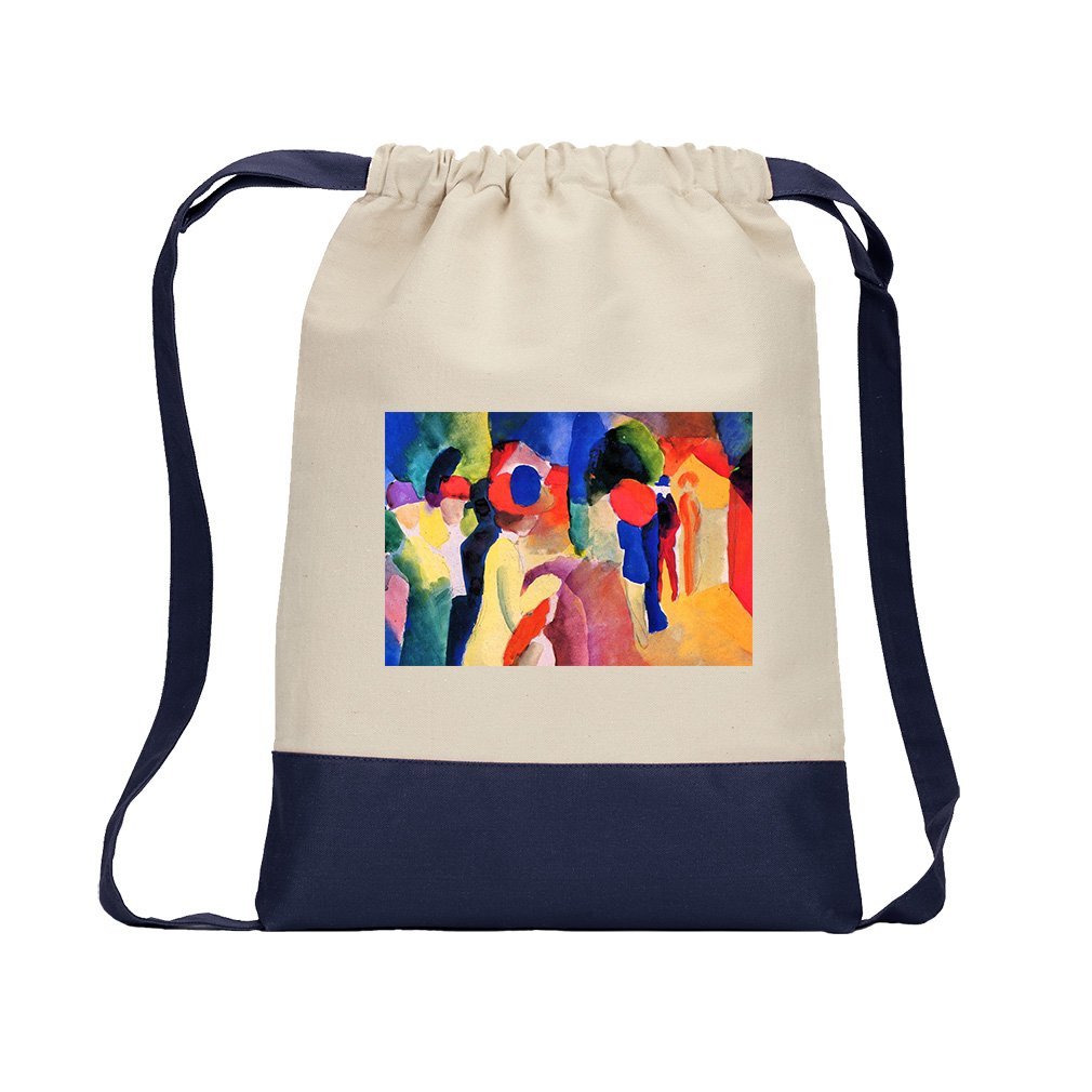 With Yellow Jacket (August Macke) Canvas Backpack Color Drawstring - Navy