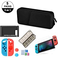 Kit de Accesorios Nintendo Swich 5 en 1 con Funda Nintendo Switch, Carcasa de Caucho para Joy Con y Consola, 3 Protector de Pantalla, Joy-Con Pulgar Grips, Paño de Limpieza, Estuche Tarjetas de Juego