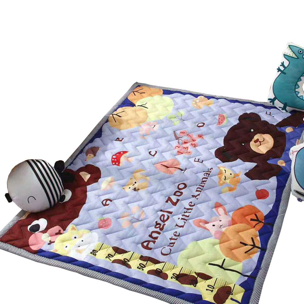 Cusphorn Nursery Rugs Children Play Mat Cute Animal Zoo Printed Cotton Area Rugs Kid's Bedroom Decor
