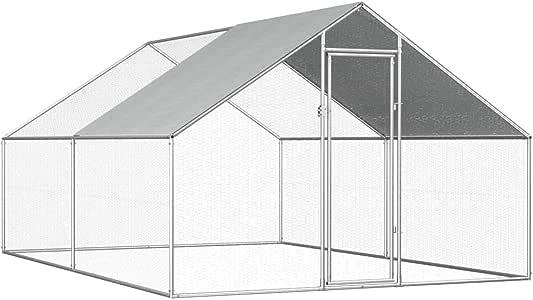 Goofly Outdoor Chicken Cage Walk-in Chicken Coop Rabbit Habitat Cage Galvanised Steel Hen Run House 2.75x4x2 m