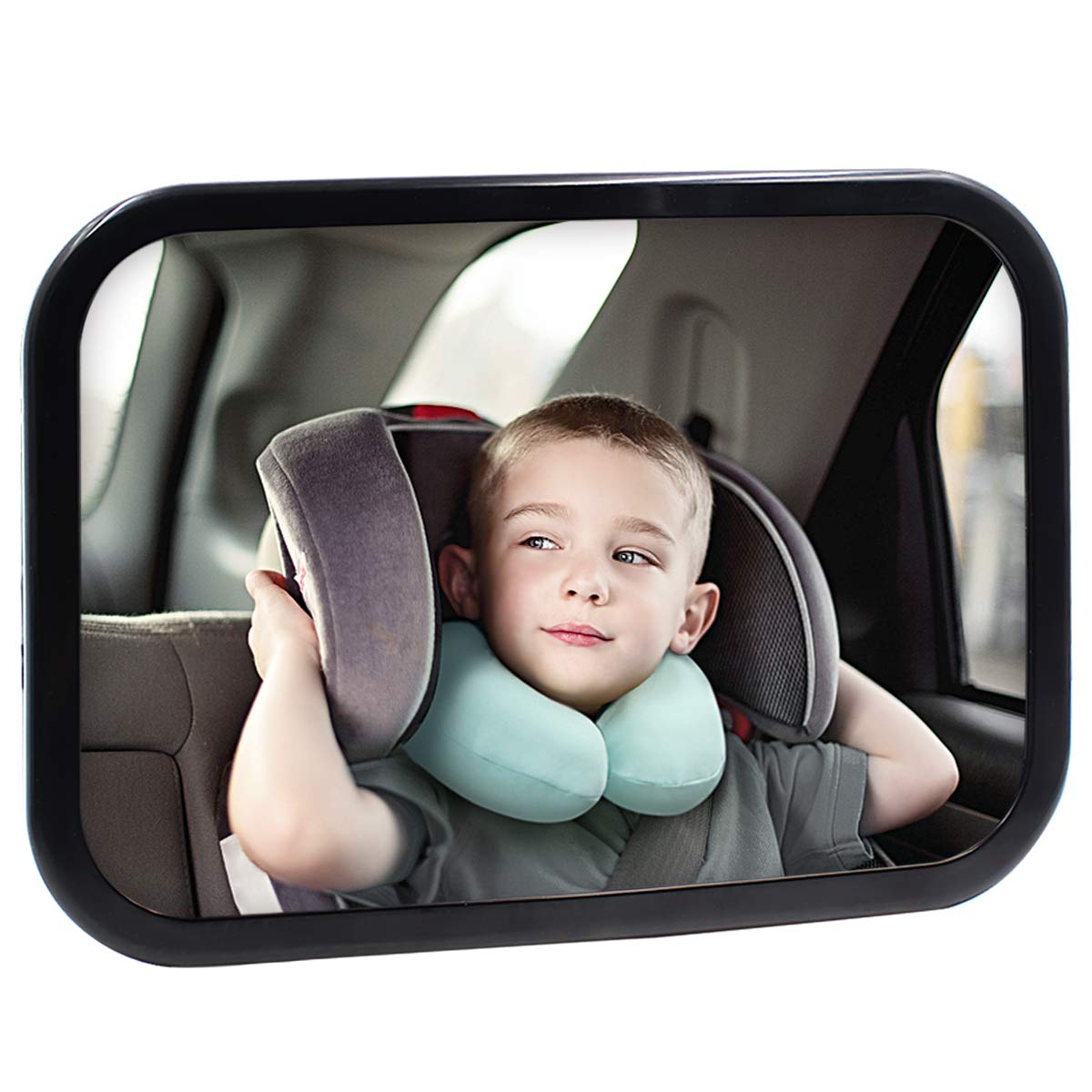 Safe Baby Car Mirror for Rear View Facing Back Seat for Infant Child,Fully Assembled and Adjustable,Backseat Shatterproof Mirror with Perfect Reflection by Coindivi