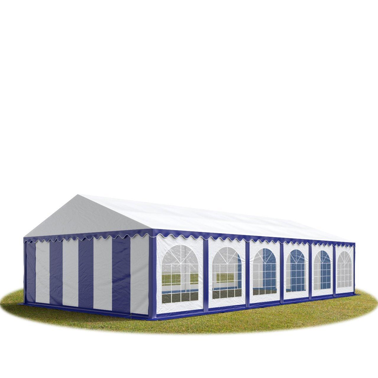 Festzelt Partyzelt 6x12m, hochwertige 500/m² PVC Plane in blau-weiß, 100% wasserdicht, vollverzinkte Stahlkonstruktion mit Verbolzung