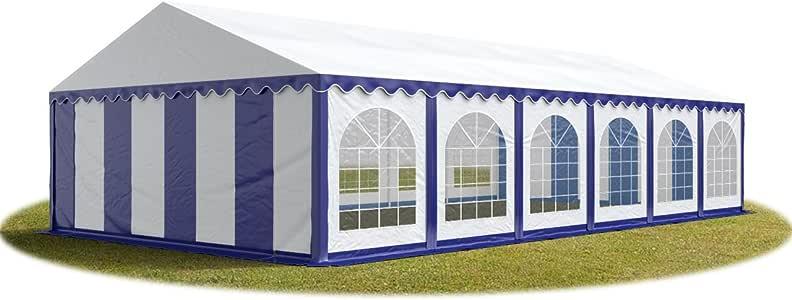 TOOLPORT Carpa de Fiesta 6x12 m Lona PVC Aprox. 500g/m² 100% Impermeable con Estructura de Suelo Azul-Blanco: Amazon.es: Jardín