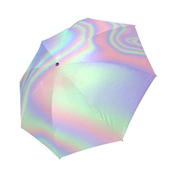 Personalizado iridiscente, plegable lluvia paraguas: Amazon ...