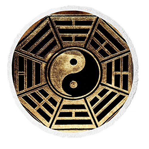 Custom Zen Art Beach Towel, Old Vinatge Yin Yang Symbol Peac