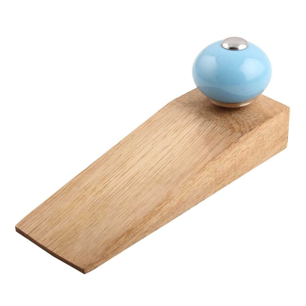 IndianShelf Set of 10 Handmade Sky Blue Round Wooden Ceramic Door Stoppers Premium Stop Wedge Work On All Floors Non Stretching Strong Grip