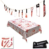 NULIPAM Halloween Bloody Decorations, Set Include Knife Hanging Banner, Blood Splatter Tablecloth, Scar Tattoo, Warning…