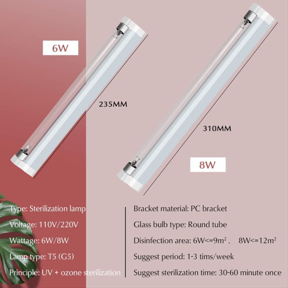 Lampe uv D/ésinfection Lampe Germicide St/érilisateur T5 Tube 110v 220v Quartz Ultraviolet Lumi/ère Lin/éaire G/én/érateur Dozone D/ésinfection D/ésodorisant 30cm 8W 220V Connenctors