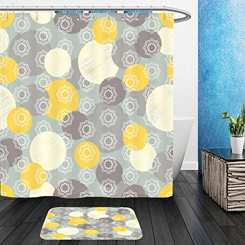 Vanfan Bathroom 2Suits 1 Shower Curtains & 1 Floor Mats ethnic boho seamless pattern with decorative flowers and polka dots print cloth design wallpaper 450426322 From Bath room