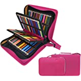 200 + 16 Slots Pencil Case & Extra Pencil Sleeve Holder - Bundle for Prismacolor Watercolor Pencils, Crayola Colored Pencils, Marco Pens and Cosmetic Brush by YOUSHARES (216 slots Red)