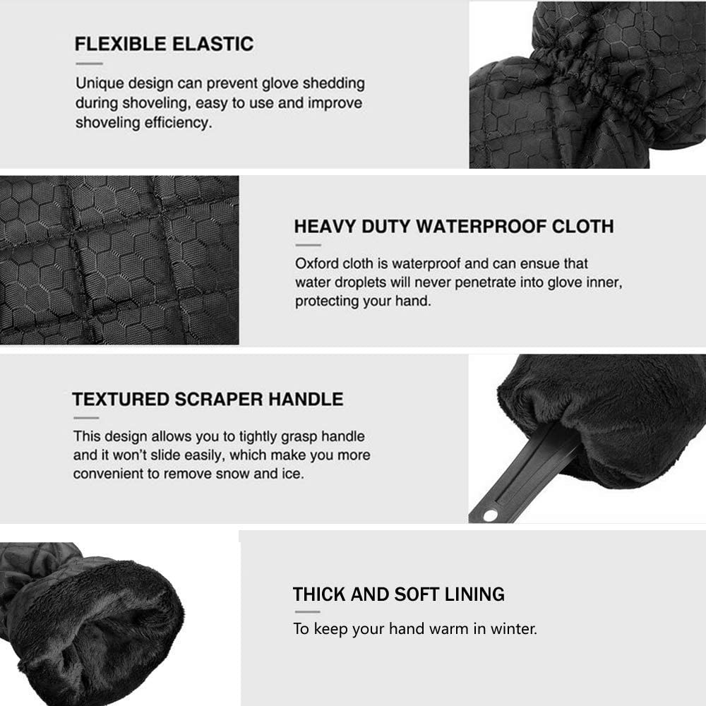 Black KJLM Ice Scraper Mitts for Car Mitt Windscreen Scraper with Glove Windshield Snow Scrapers with Waterproof Warming Thick Fleece Elastic