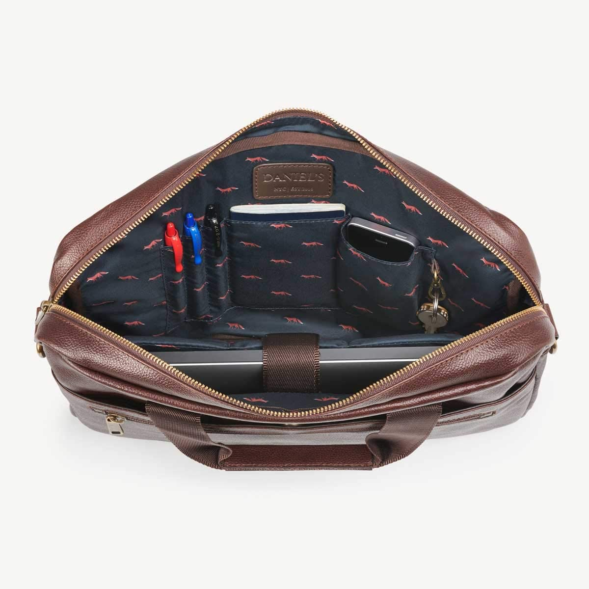 Daniel's 15.5 Inch Premium Italian Leather Briefcase Messenger Bag - Padded Laptop Compartment - Removable/Adjustable Shoulder Strap - Model No. 1 (Brown with Fox Lining) Briefcase Bag for Men
