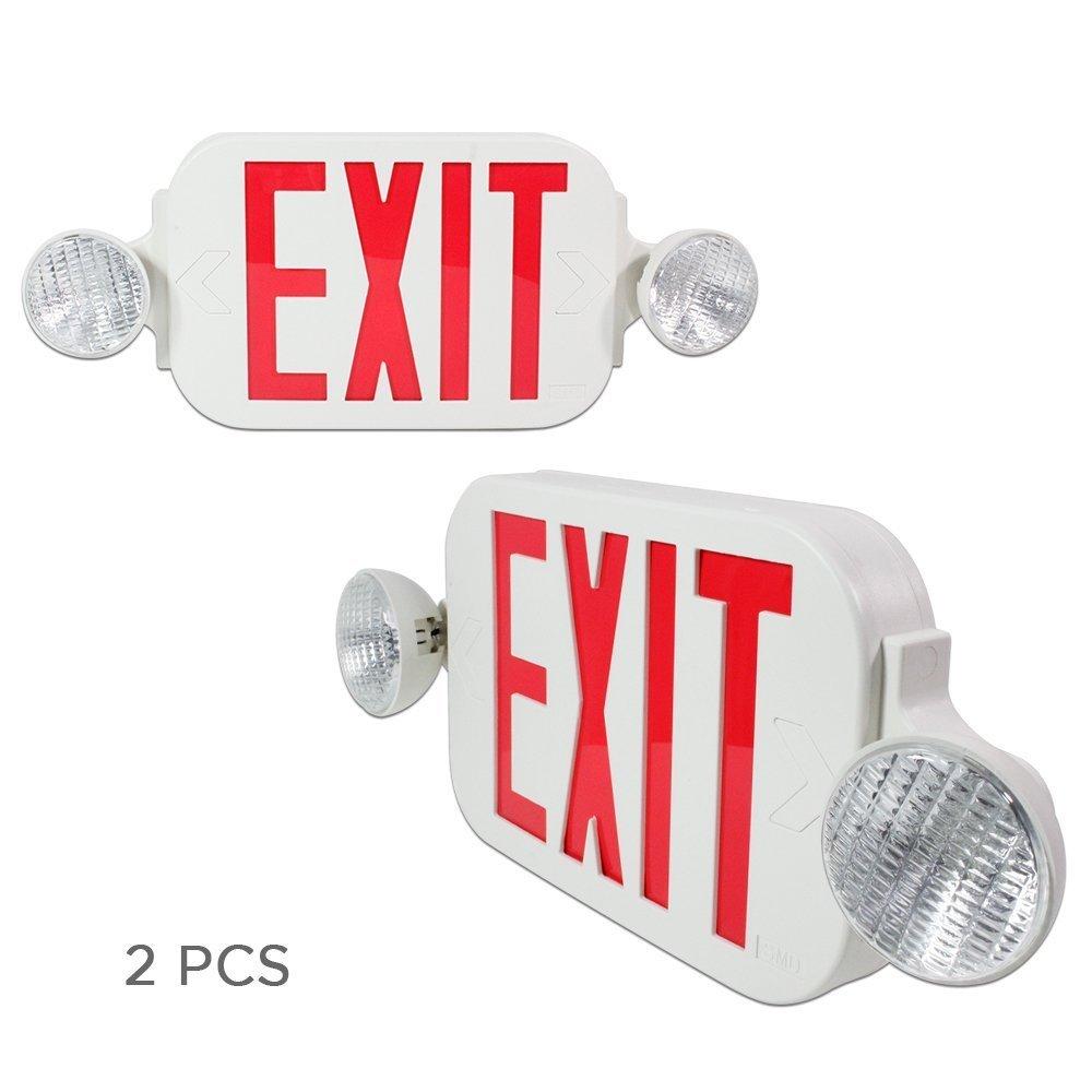eTopLighting [2 Pack] LED Red Exit Sign Emergency Light Combo with Battery Back up UL924 ETL Listed, Red Lettering in White Body, Bug Eye Side Light, AGG2193