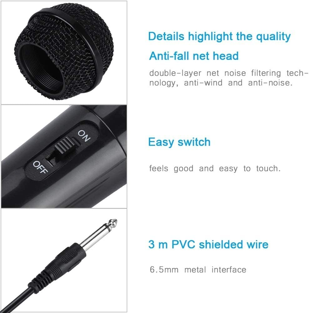 Broco Effacer Portable Bobine Mobile Handheld Filaire Microphone Dynamique Vocal for Karaok/é Noir