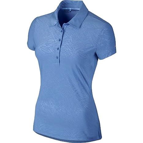 Nike Golf Womens Dri Fit Precision Emboss Polo Shirt Blue Size ...