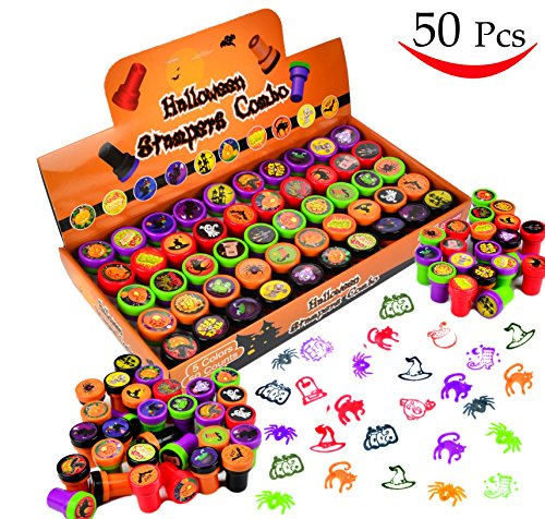 50 Pieces Halloween Assorted Stamps Kids Self-Ink Stamps (25 DIFFERENT Designs, Plastic Stamps, Trick Or Treat Stamps, Spooky Stamps) for Halloween Party Favors, School Prizes, Halloween (Trick Or Treat Halloween Game)