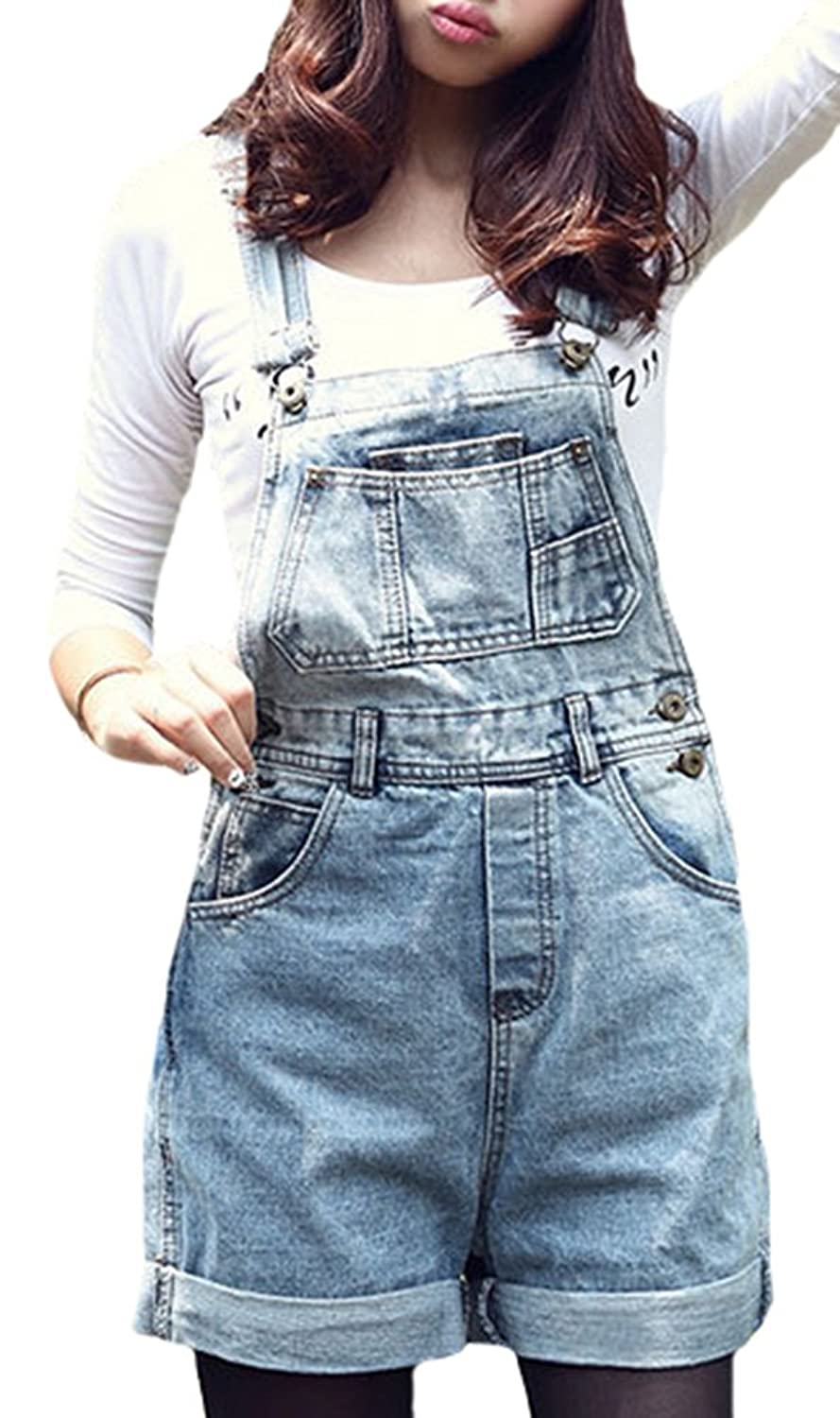IDIFU Women's Adjustable Strap Denim Overalls Shorts Jeans Bib Shortalls