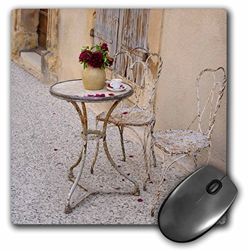 3dRose France, Provence, Cote dAzur, Lourmarin. Outdoor Table with Flowers, Mouse Pad, 8