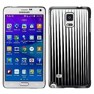 FECELL CITY // Duro Aluminio Pegatina PC Caso decorativo Funda Carcasa de Protección para Samsung Galaxy Note 4 SM-N910 // Black White Minimalist Abstract Vertical