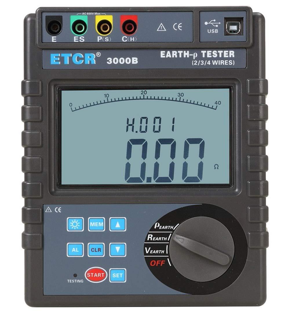 Earth Meter Earth Resistance Tester LCD Multimeter For Soil Resistivity For Desktop For Indoor