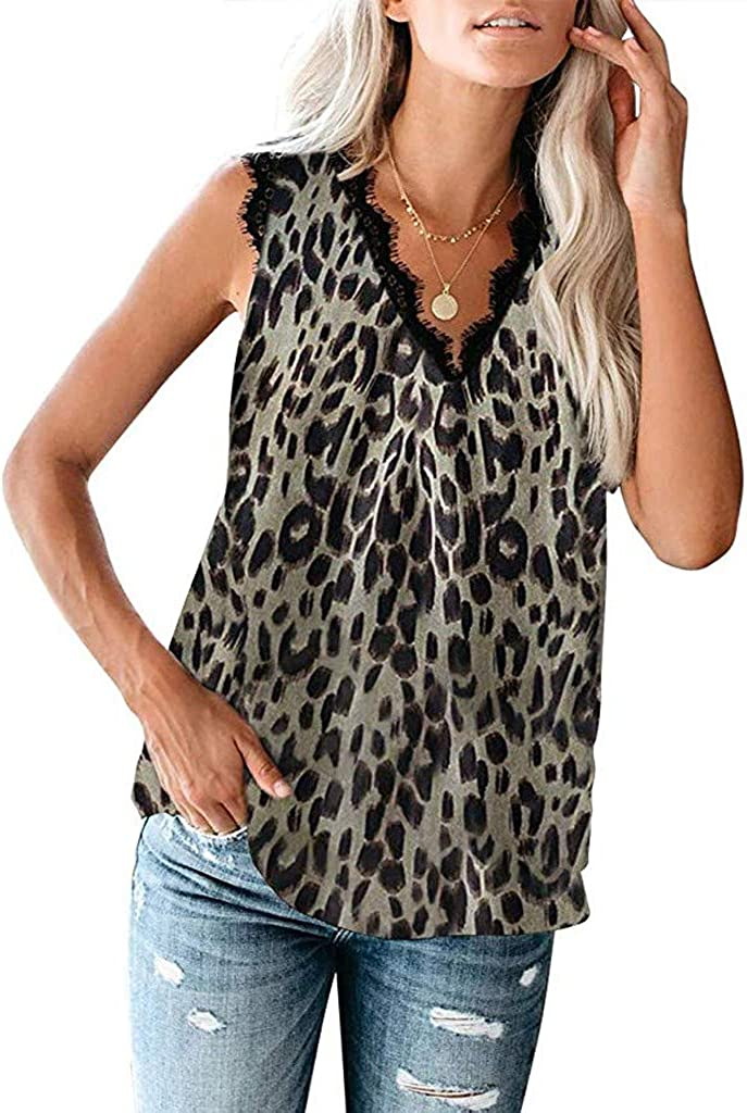 Womens Vest Shirt V Neck Lace Leopard Floral Casual Loose Sleeveless Shirts Blouse Summer Tank Tops