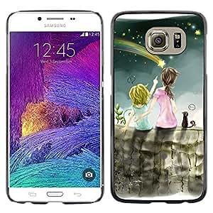 Be Good Phone Accessory // Dura Cáscara cubierta Protectora Caso Carcasa Funda de Protección para Samsung Galaxy S6 SM-G920 // Meteor Shower Art Night Sky Sisters Star