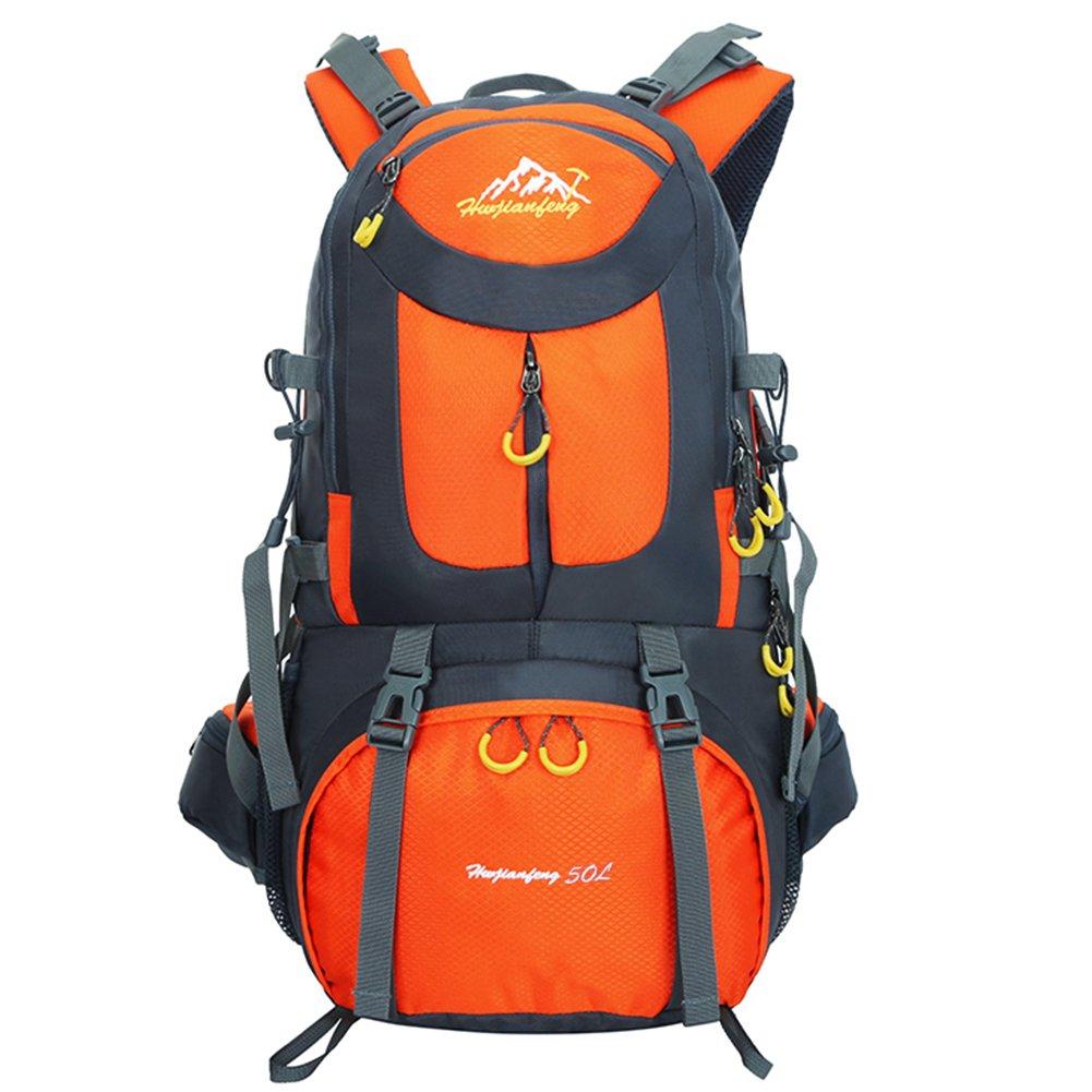 男性と女性のための50L屋外バックパック、多機能トラッキングハイキングリュックサック スクールティーン、ナイロン防水スポーツバッグ ラップトップ、服、靴、食品、水、スティック、カメラ、傘を持っています B073FFYDVN  オレンジ