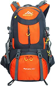 Hiking Backpack Nylon Waterproof Large Capacity Daypack for Outdoor Sports Travel Fishing Cycling Skiing Climbing Camping Mountaineering (Orange-50L)