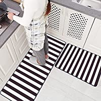 Ustide Black and White Stripe Rugs Washable Non-Slip Rug for Kitchen/ Bathroom/ Entry Way/ Laundry Room/ Living Room ,2pc