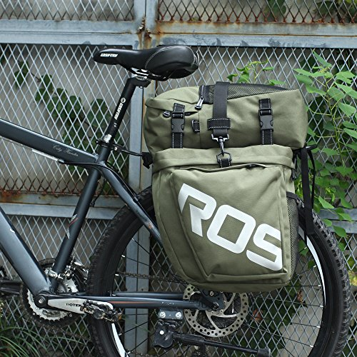 Little-Tomato Bike Pannier Bag Bicycle Rear Rack Bag Waterproof, 3 in 1 Rear Seat Bicycle Saddle Bag Multifuction Bicycle Expedition Touring Cam Pannier (Army Green)