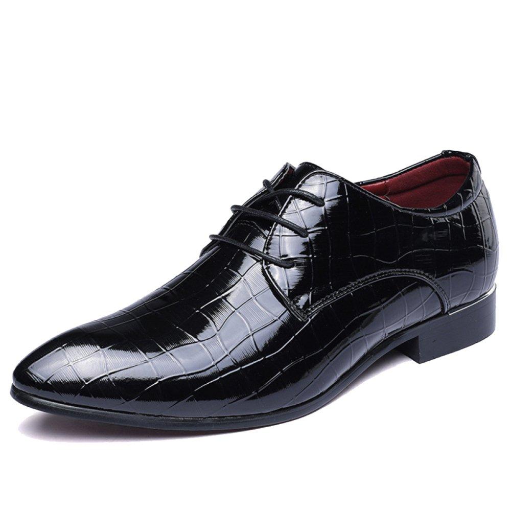 Herren Lace Ups Lackleder Schuhe Spitzschuh Schuhe Gittermuster Echte Derby Schuh Für Echte Gittermuster Formale Kleid Party Arbeit Hochzeit schwarz 91c681