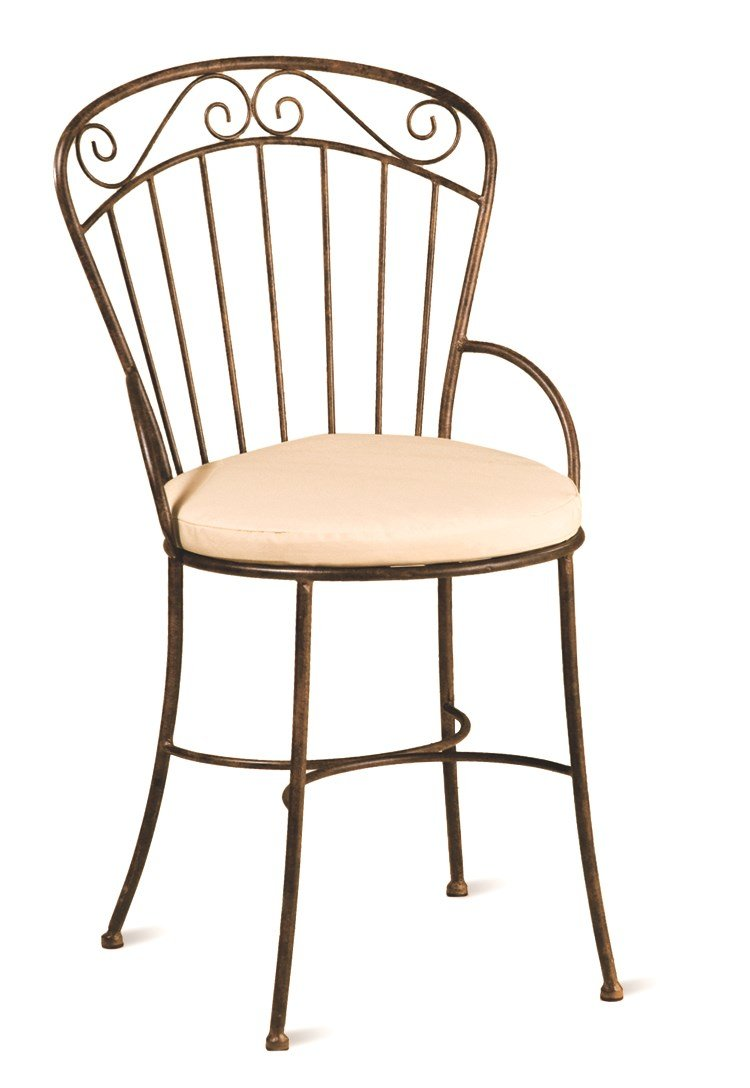 "Deer Park CH102 Steel Imperial Chair with Cushion - 16""L x 16""D x 35""H Natural Patina powder-coated finish for lasting durability Indoor / Outdoor cushion included - kitchen-dining-room-furniture, kitchen-dining-room, kitchen-dining-room-chairs - 61zDBukjfpL -"